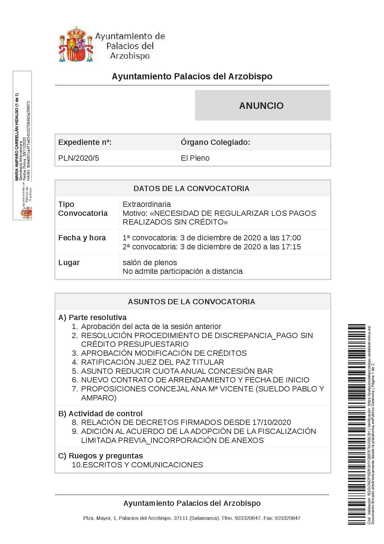 Convocatoria del Pleno Expte. PLN/2020/5