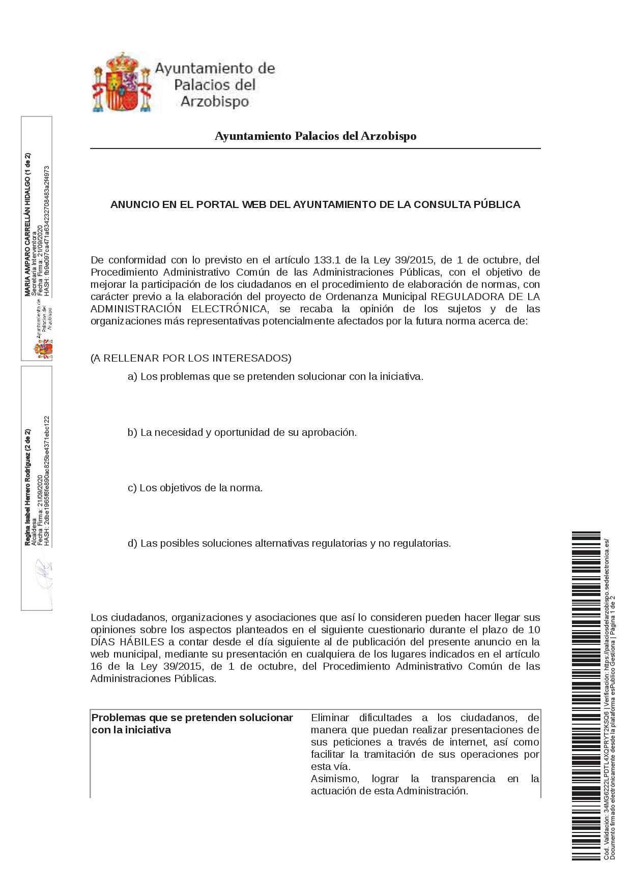 Proyecto de Ordenanza Municipal Reguladora de la Administración Electrónica
