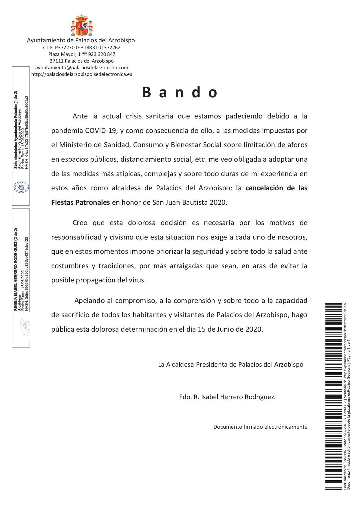 Suspendidas las Fiestas Patronales 2020 por la pandemia COVID 19