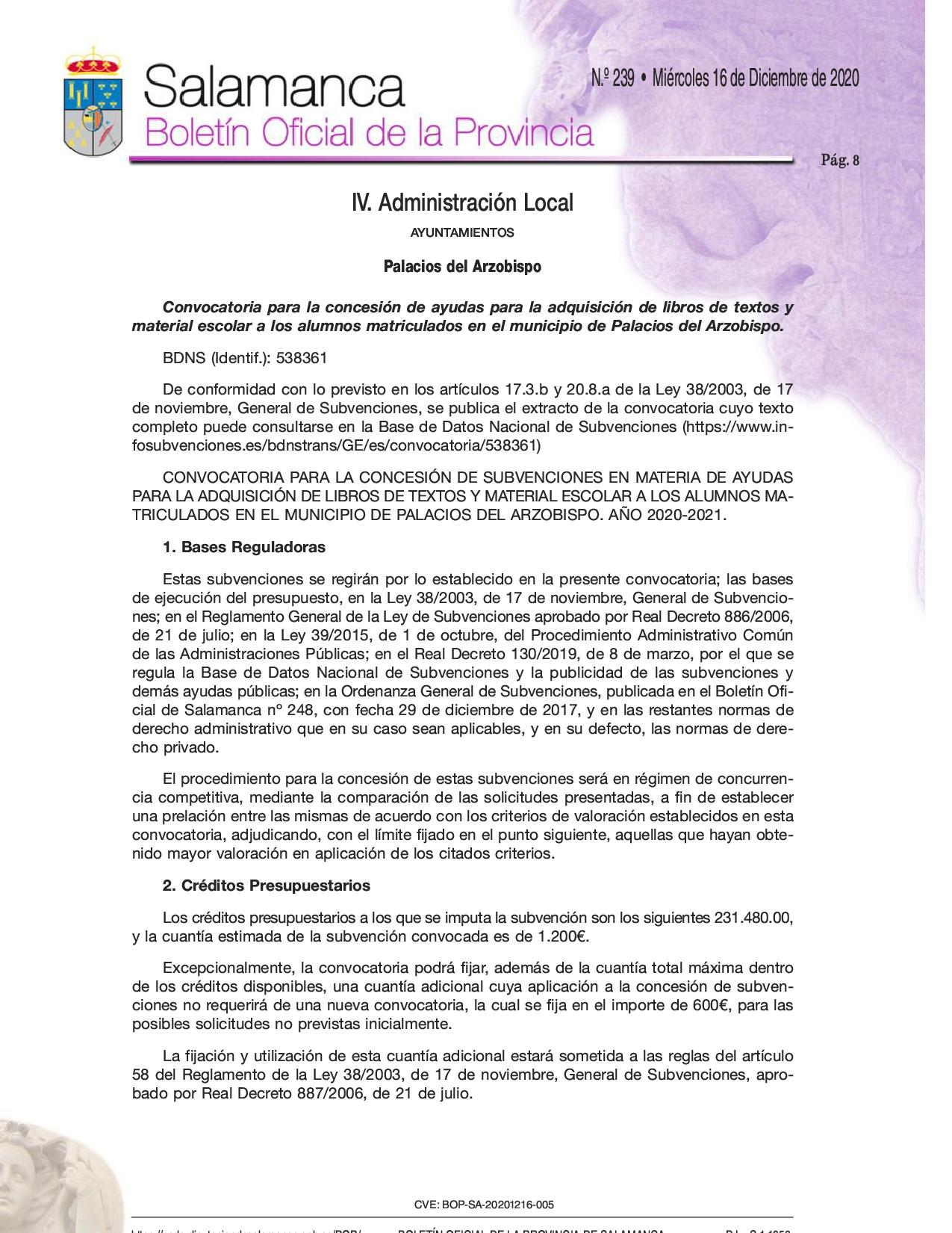 Convocatoria de ayudas para la Adquisición de Libros de Texto y Material Escolar 2020/2021