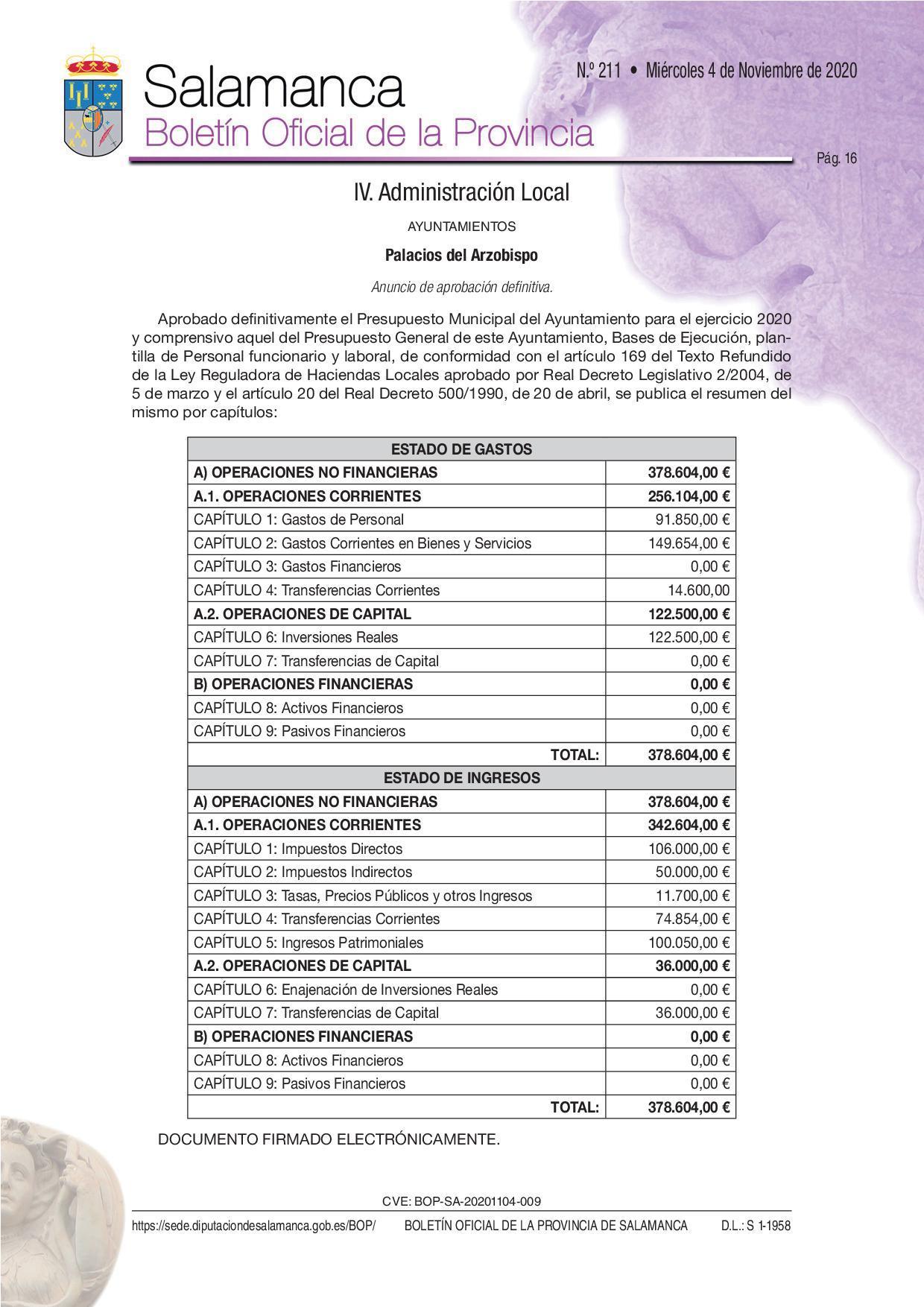 Publicación en el BOP de la Aprobación del Presupuesto General 2021