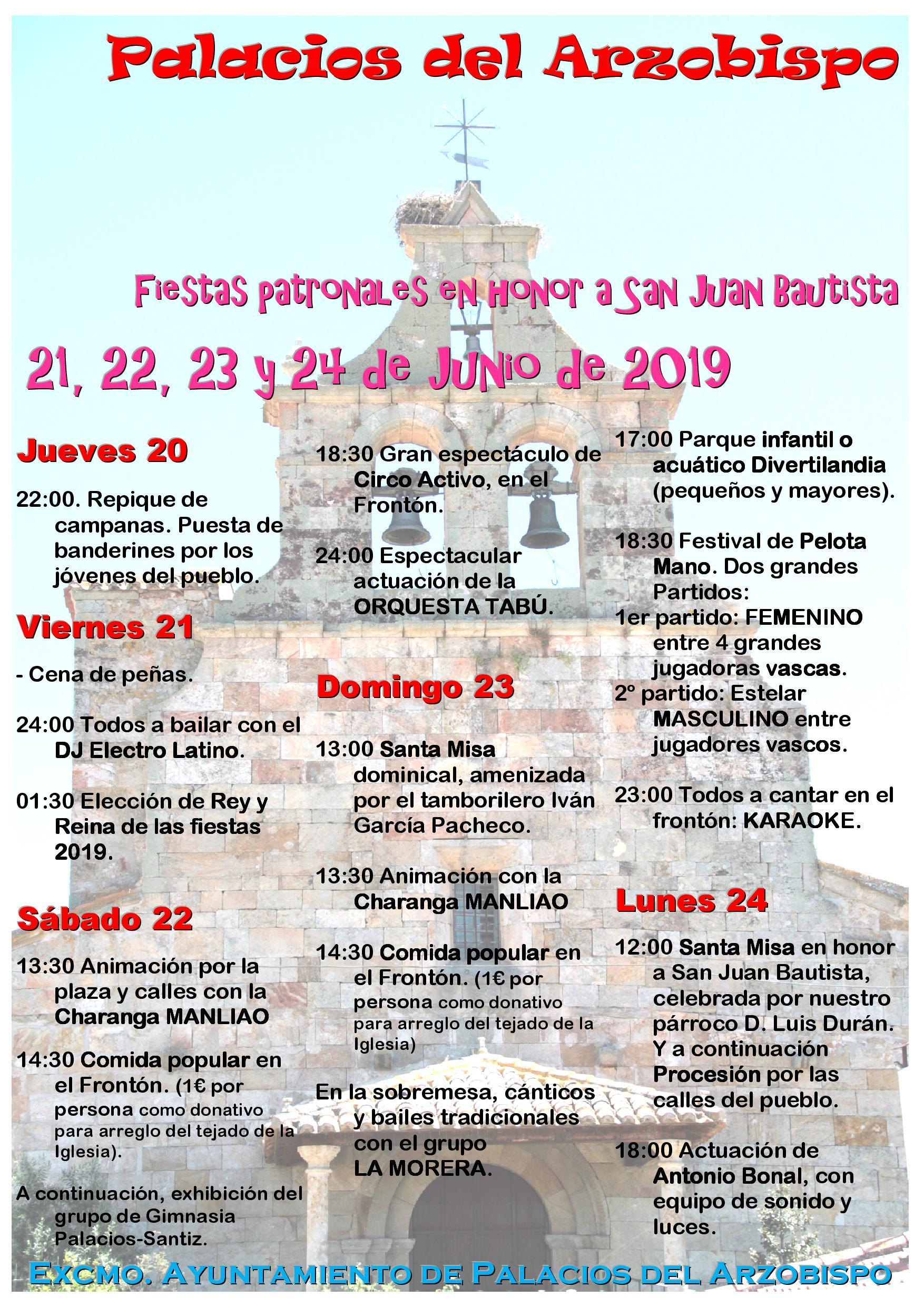 Fiestas patronales en Honor a San Juan Bautista 2019.